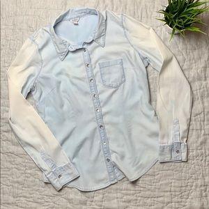 Guess light denim button down shirt